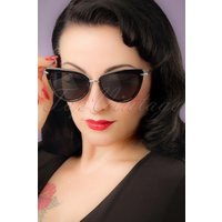 50s Dita Cat Eye Sunglasses In Black And Silver