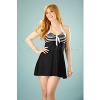 50s Sophia Striped Swimdress In Black