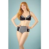 50s Joelle Stripes Bikini In Black And White