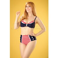 50s Joelle Stripes Bikini In Navy And Red