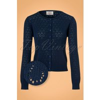 50s Watch Out Cardigan In Night Blue