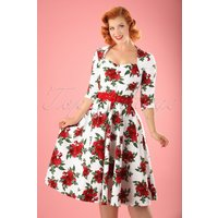 50s Eternity Roses Swing Dress In White And Red