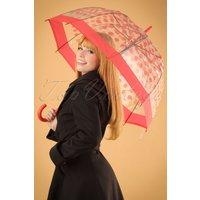 60s Polkadot Transparent Dome Umbrella In Red
