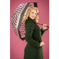 60s Polkadot Transparent Dome Umbrella In Black