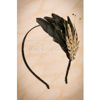 20s Verity Crystal And Feather Hairband In Black And Gold