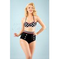 50s Debra Polkadot Stripes Halter Bikini In Black And White