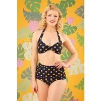 50s Classic Polkadot Bikini In Navy And Yellow