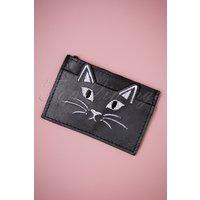 50s Naya The Cat Leather Cardholder In Black