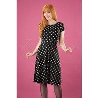 60s Betty Party Polka Dress In Black