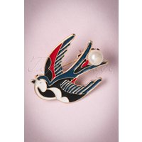 50s Sadie Swallow Brooch In Gold And Blue