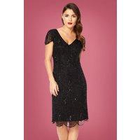 20s Downton Abbey Flapper Dress In Black