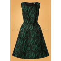 50s Jill Jacquard Dress In Dark Green