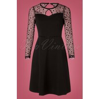 50s Becky Dots Mesh Dress In Black