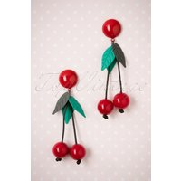 50s Kaye Cherry Earrings In Red And Green