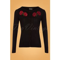 50s Faith Poppy Cardigan In Black