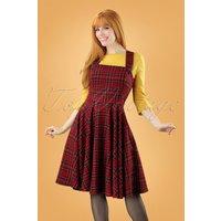 40s Peebles Pinafore Tartan Dress In Red