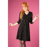 60s Penny Tulip Skater Dress In Black