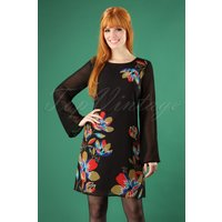 70s Geometric Floral Tunic Dress In Black