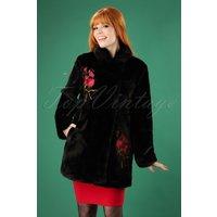 70s Erin Floral Faux Fur Coat In Black