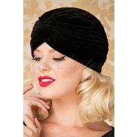 20s Warlock Velvet Turban Hat In Black