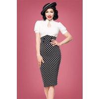 50s Andrea Polkadot Pencil Skirt In Black