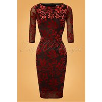 50s Deanna Floral Pencil Dress In Brown And Red