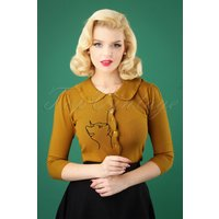 60s Cat Scallop Collar Cardigan In Mustard