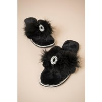 50s Zoe Plush Toe Slippers In Black