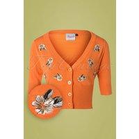 50s Tiki Floral Cardigan In Orange