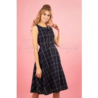 50s Check Mate Swing Dress In Navy