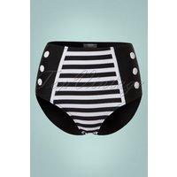 50s Joelle Stripes Bikini Pants In Black And White