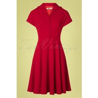 40s Valencia Swing Dress In Deep Red