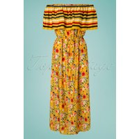 70s Saffron Maxi Beach Dress In Mustard