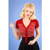 50s Sailor Stripe Tie Top In Lipstick Red