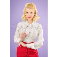 50s Harlow Tie Blouse In Ivory