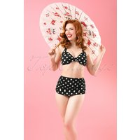 50s Classic Polka Bikini Pants In Black And White