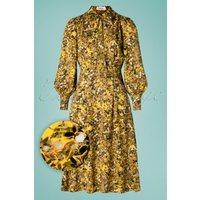 70s Fiorella Vintage Midi Dress In Yellow