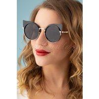 60s Pierina Kitten Eye Sunglasses In Black
