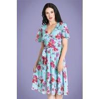 50s Primavera Floral Dress In Blue