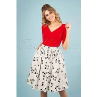 50s Cherry Pop Front Button Swing Skirt In White