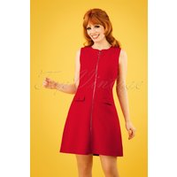 60s Groovy Gal Dress In Lipstick Red