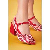 60s Hera Checked Block Heel Sandals In Red