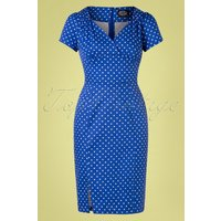 50s Amelia Polkadot Wiggle Dress In Cobalt Blue