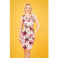 50s Mel Floral Pencil Dress In Pink