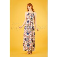 60s Mexicana Folk Floral Maxi Dress In White