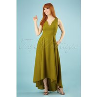 70s Isabella Plain Maxi Dress In Olive Green