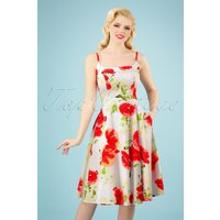 50s Blossoming Red Poppy Swing Dress In White
