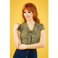 50s Purr Bow Blouse In Posey Green