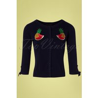 50s Sally Tropical Fruit Cardigan In Navy