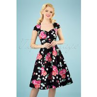 50s Carole Flower And Dots Swing Dress In Black